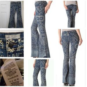 Free People Henna Print Flare Jeans
